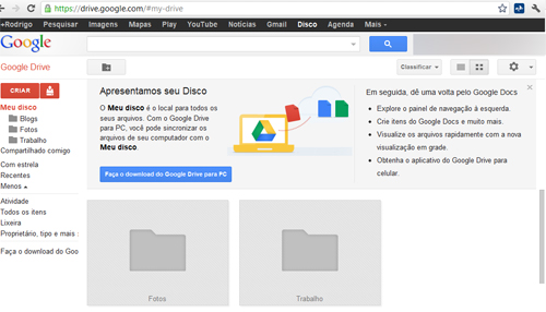 Interface Google Drive Disco Virtual