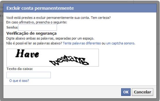 Tela Facebook Apagar Captcha