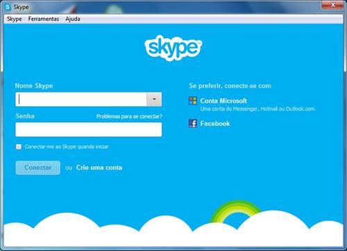 Tela Fazer Login Skype