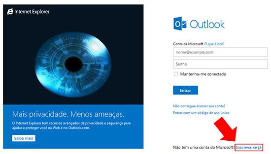 Formulário Criar Outlook.com